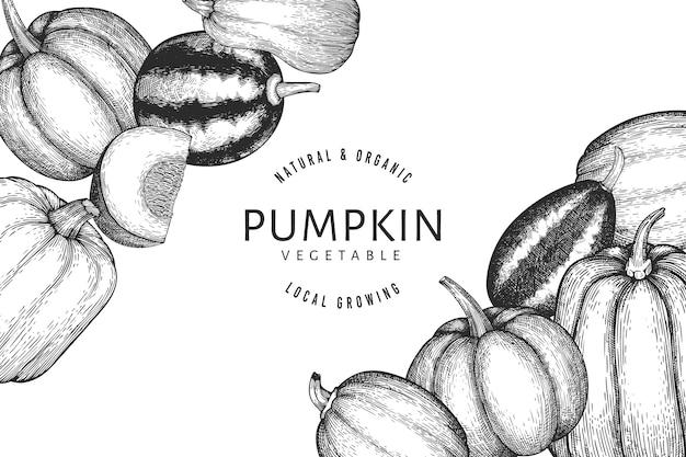 Ilustrações de abóbora desenhada à mão. cenário de ação de graças em estilo retro com colheita de abóbora. fundo de outono.