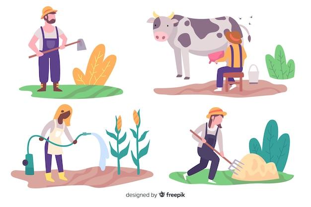 Ilustrações de agricultores trabalhando coleção