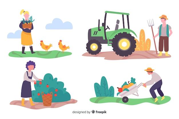 Ilustrações de agricultores trabalhando pacote