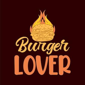 Ilustrações de amantes de hambúrgueres cita design de slogan