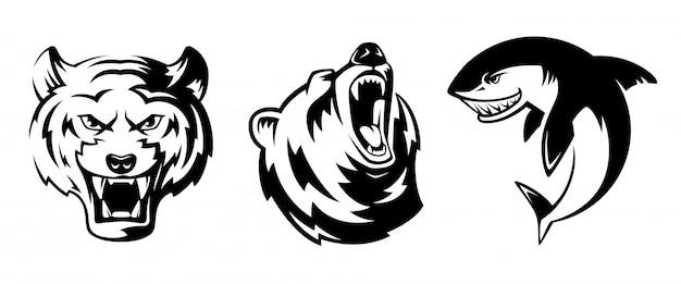 Ilustrações de animais para emblemas do esporte. grizzly, tigre e tubarão.