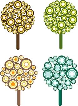 Ilustrações de árvores de estilo retro