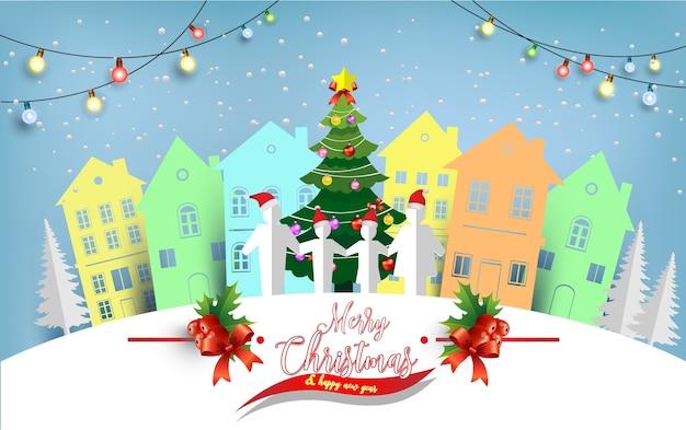Ilustrações de árvores de natal e casas e famílias no inverno. arte de design e artesanato