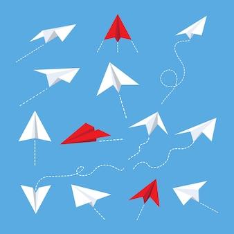Ilustrações de avião de papel
