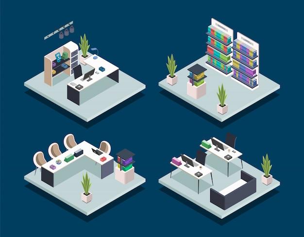 Ilustrações de biblioteca de livros modernos