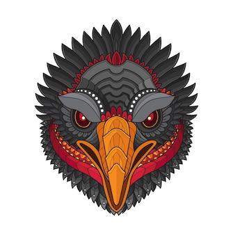 Ilustrações de cabeça-vetor de pássaro abutre estilizado zentangle