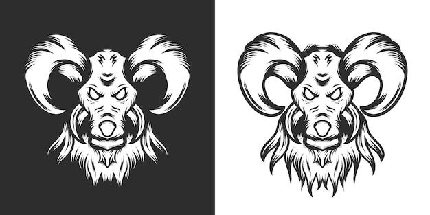 Ilustrações de cabeças de ovelha desenhadas à mão de cordeiro