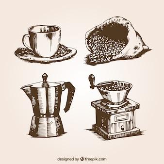 Ilustrações de café retros