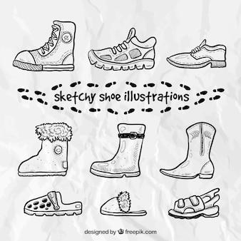 Ilustrações de calçados esboçado