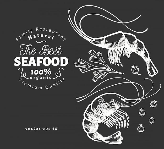 Ilustrações de camarão
