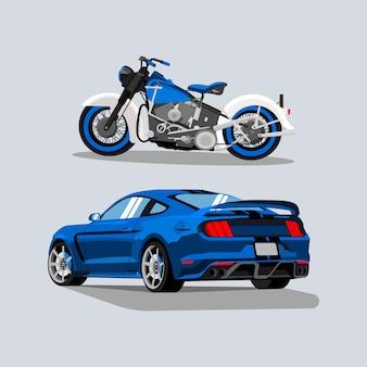 Ilustrações de carro esportivo e bicicleta