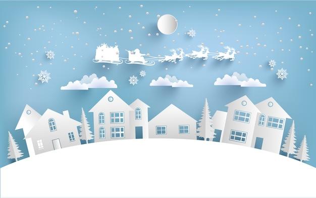 Ilustrações de casa e papai noel voam sobre montanhas nevadas no inverno. arte de design e artesanato