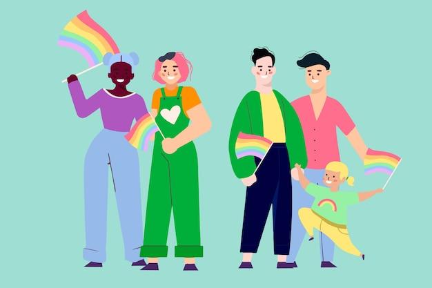Ilustrações de casais e famílias comemorando o dia do orgulho