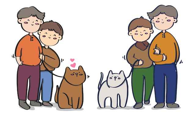 Ilustrações de casais homossexuais do dia dos namorados, coleção lgbt