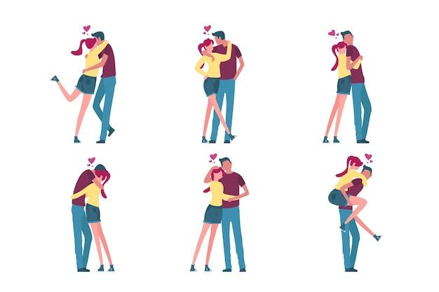 Ilustrações de casal desenhadas à mão para o dia dos namorados