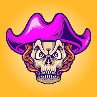 Ilustrações de caveira de doces de piratas