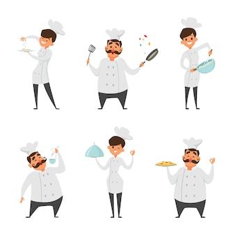 Ilustrações de chef profissional masculino e feminino em poses de ação