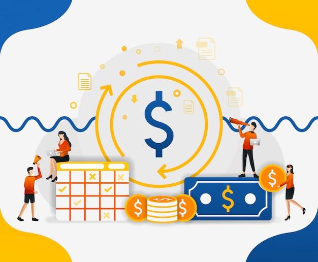 Ilustrações de circulação financeira e circulação de moeda