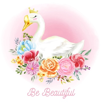 Ilustrações de cisne branco com flores de aquarela