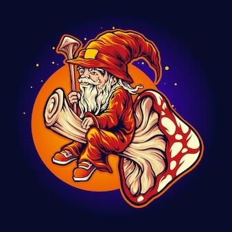 Ilustrações de cogumelo mágico xamã mascote voar