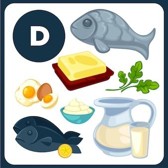 Ilustrações de comida com vitamina d.