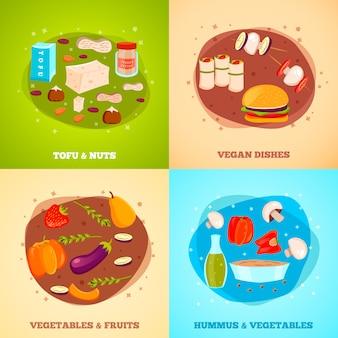 Ilustrações de comida vegetariana