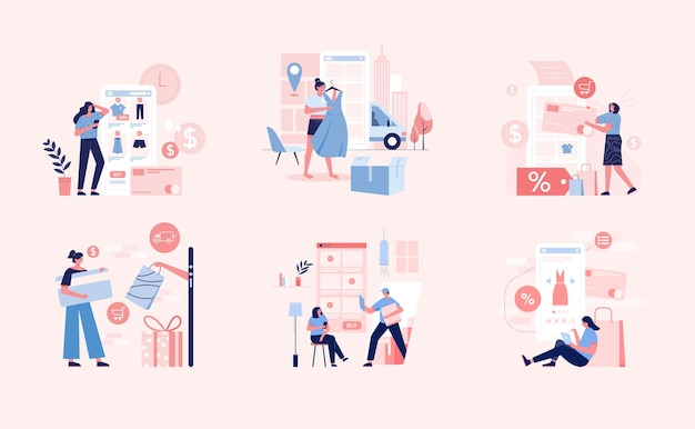 Ilustrações de compras online.