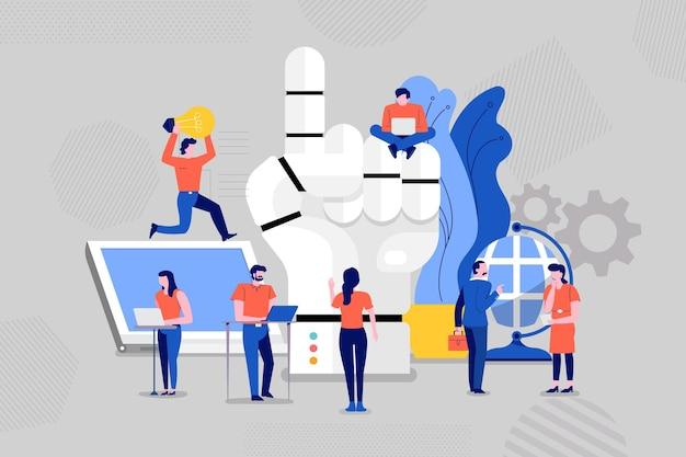 Ilustrações de conceito de construção de equipes e desenvolvimento de robô inteligente