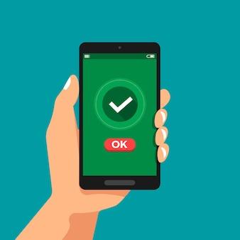 Ilustrações de conceito de design plano mão segurar confirmação de smartphone clique em ok