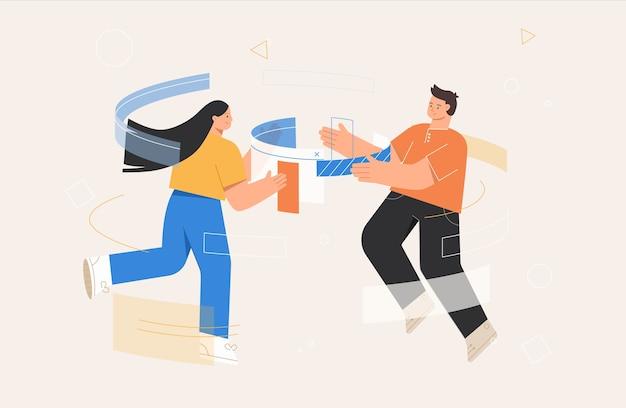 Ilustrações de conceito de negócio de gerenciamento de fluxo de trabalho.