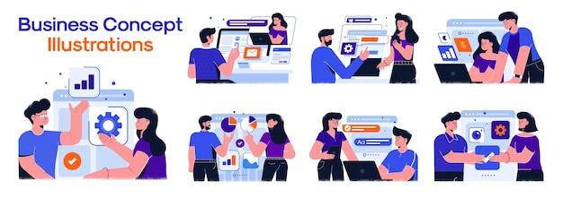 Ilustrações de conceito de negócio.