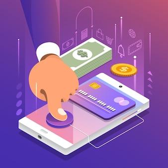 Ilustrações de conceito de pagamento online e transferência de dinheiro, dinheiro e negócios de transações