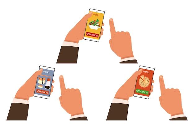 Ilustrações de conceito de pedido de comida online criadas com mãos humanas