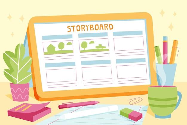 Ilustrações de conceito de storyboard
