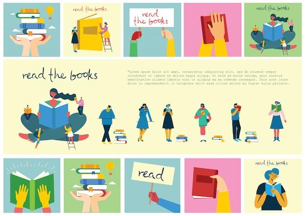Ilustrações de conceito vetorial do dia mundial do livro, lendo os livros e o festival do livro no estilo simples. as pessoas se sentam, ficam de pé, andam e leem um livro