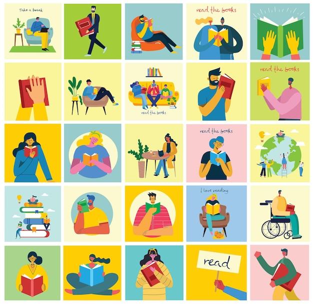 Ilustrações de conceito vetorial do dia mundial do livro