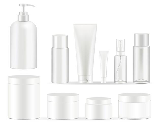 Ilustrações de conjunto de embalagens de frascos de cosméticos.