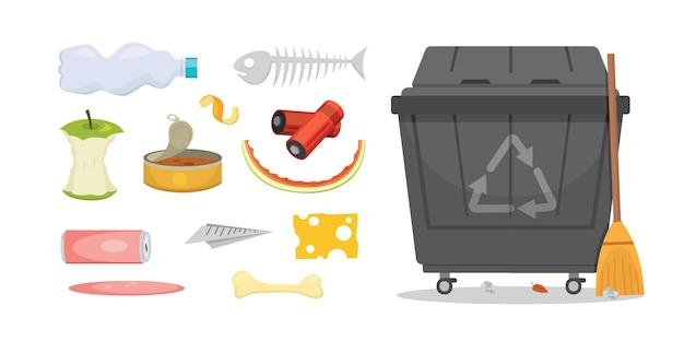 Ilustrações de conjuntos de lixo e lixo em estilo cartoon