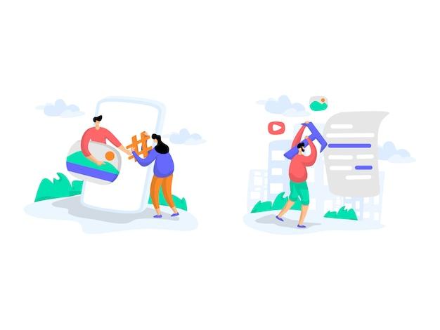 Ilustrações de conteúdo de blogs
