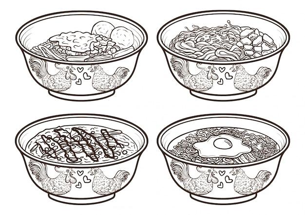 Ilustrações de contorno de comida indonésia ásia