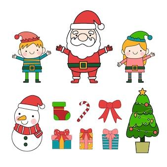 Ilustrações de contorno preenchido de papai noel e elfos, feliz natal
