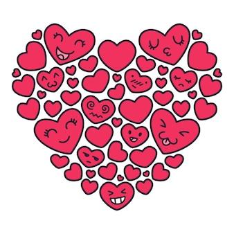 Ilustrações de corações vermelhos de kawaii emoji mão desenhada.