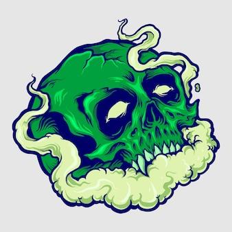 Ilustrações de crânio verde nuvem vape