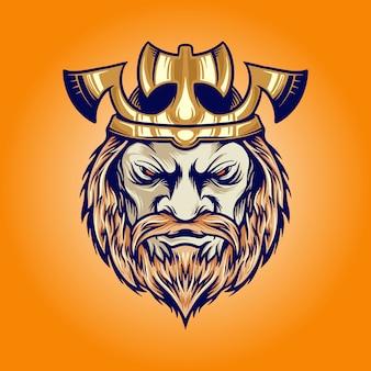 Ilustrações de desenho animado da cabeça do rei viking com machado
