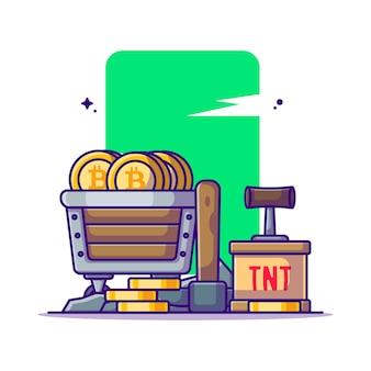 Ilustrações de desenho animado do elemento bitcoin de mineração