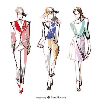 Ilustrações de desenho de moda vector