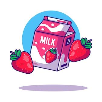 Ilustrações de desenhos animados da caixa de morango e leite para o dia mundial do leite