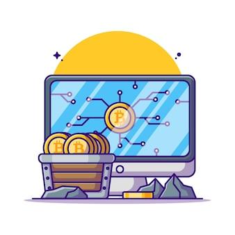 Ilustrações de desenhos animados de bitcoin de mineração