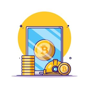 Ilustrações de desenhos animados de criptomoeda bitcoin para mineração