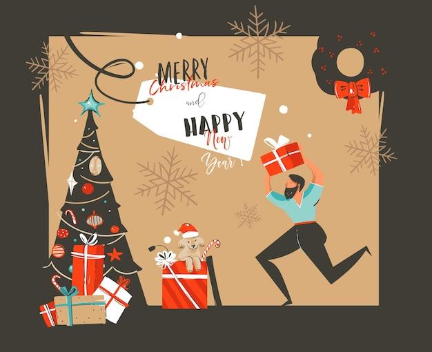 Ilustrações de desenhos animados de feliz ano novo desenhadas à mão
